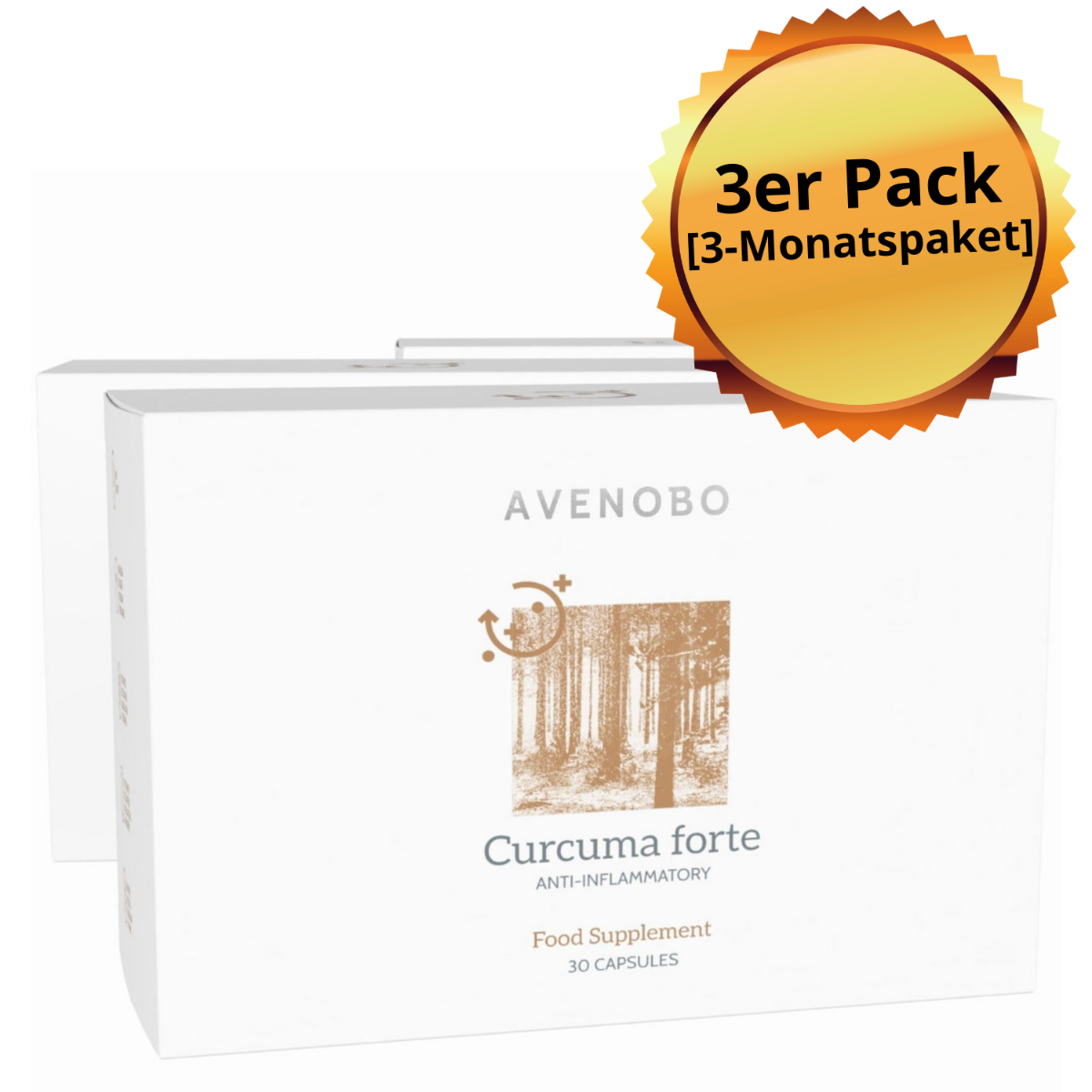 Curcuma | Dreierpackung | Kurkuma Kapseln in mizellarer Form für bessere Bioverfügbarkeit angereichert mit Vitamin D | 3x 30 Kapseln für 3 Monate.
