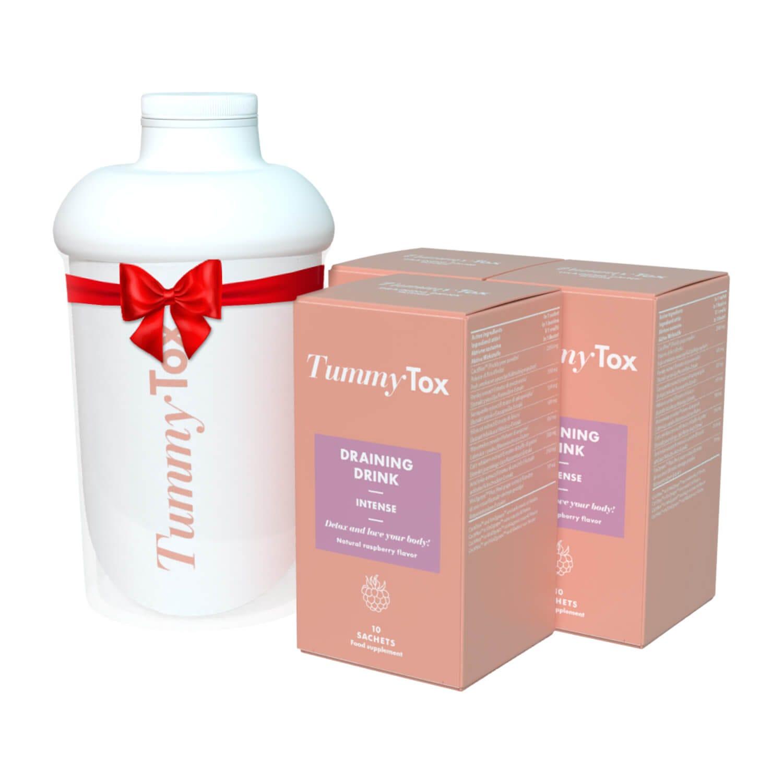 Draining Drink: 3 confezioni + Shaker OMAGGIO | Tummy Tox | Bevanda al lampone con un effetto dimagrante veloce | 3x10 bustine.