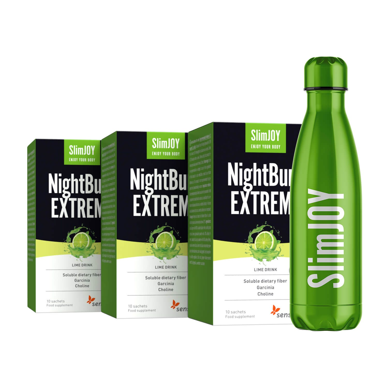 SlimJOY NightBurn | 1+2 GRATIS & Thermo-Flasche | Abnehm-Getränk für effektive Fettverbrennung während der Nacht | 30-Tage-Kur | Sensilab.