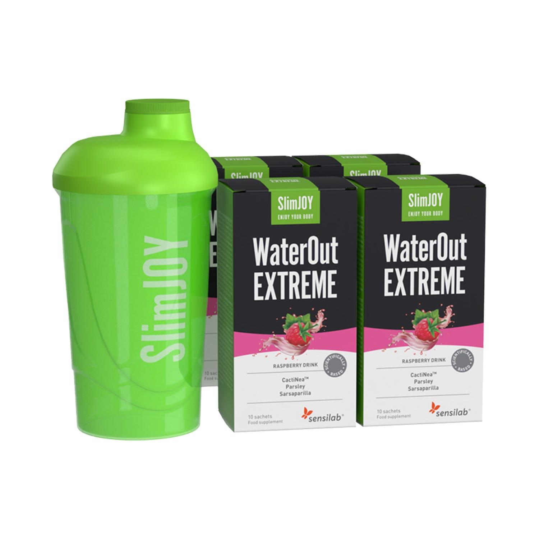 WaterOut EXTREME   Izboljšana formula   Z učinki 4 v 1 izloči odvečno vodo in pospeši hujšanje   2+2 GRATIS in shaker   40-dnevni program   SlimJOY.