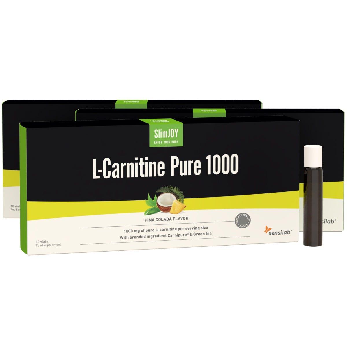 L-Carnitina Pura 1000 mg   Mega pack   L-Carnitine Carnipure - la più pura L-Carnitina liquida sul mercato   Gusto di pina colada   30 fiale   SlimJOY.