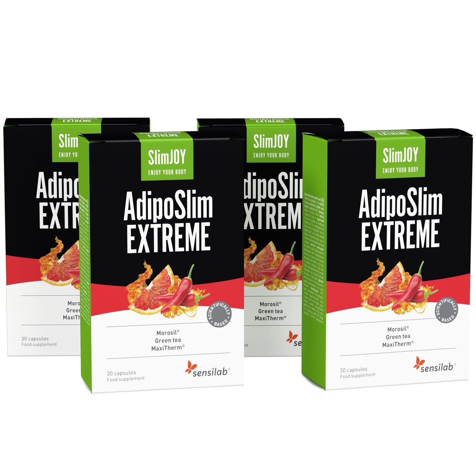 AdipoSlim Extreme |Pacchetto per 4 mesi | Bruciare grasso addominale | Formula 30% più forte | Programma di 4 mesi | 120 capsule | SlimJOY.