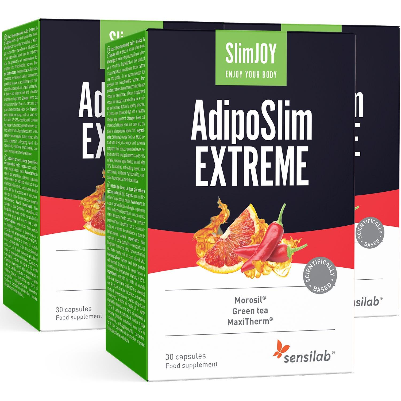 SlimJOY AdipoSlim Extreme | 1+2 GRATIS | Neue Kraftformel | Bauchfett effektiv verbrennen | 3-Monats-Programm | 3x 30 Kapseln | Sensilab.