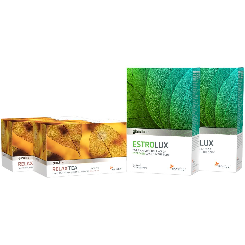 2x EstroLux + 2x Relax Tea | EstroLux Bojuje proti nadbytočnému estrogénu v tele a Relax Tea je upokojujúci bylinný čaj | na 2 mesiace | Sensilab.