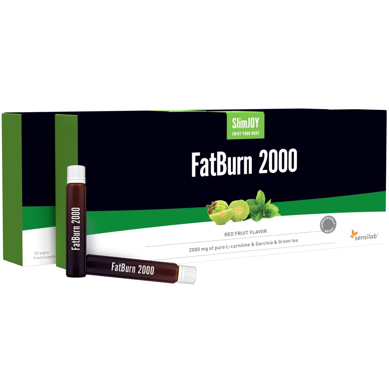 SlimJOY Chupitos para pérdida de grasa FatBurn 2000 - con 3 quemadores: L-carnitina, extracto de té verde y Garcinia (10x10 ml).