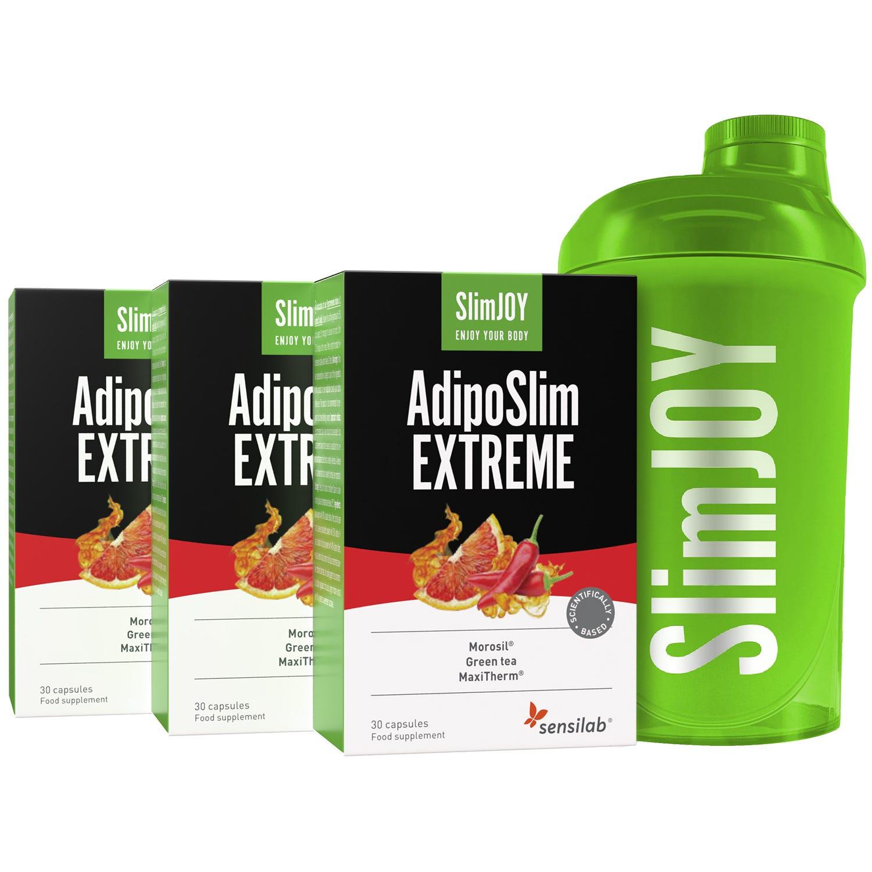 3x AdipoSlim EXTREME + Shaker ZDARMA | chudnutie brucha |  o 30 % silnejšia formula | Program na 3 mesiace| 90 kapsúl | SlimJOY.