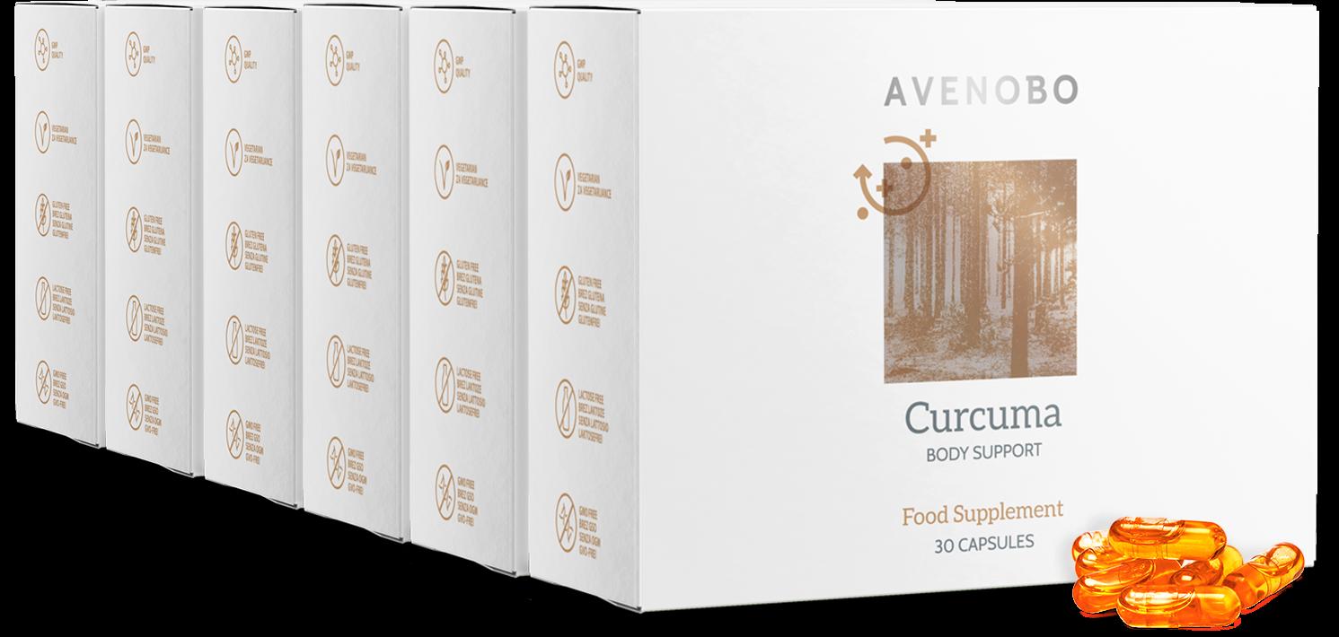 Gélules de curcuma Avenobo | Gélules de curcumine 185x plus biodisponibles | Enrichi en vitamine D3 | Pour 3-6 mois.