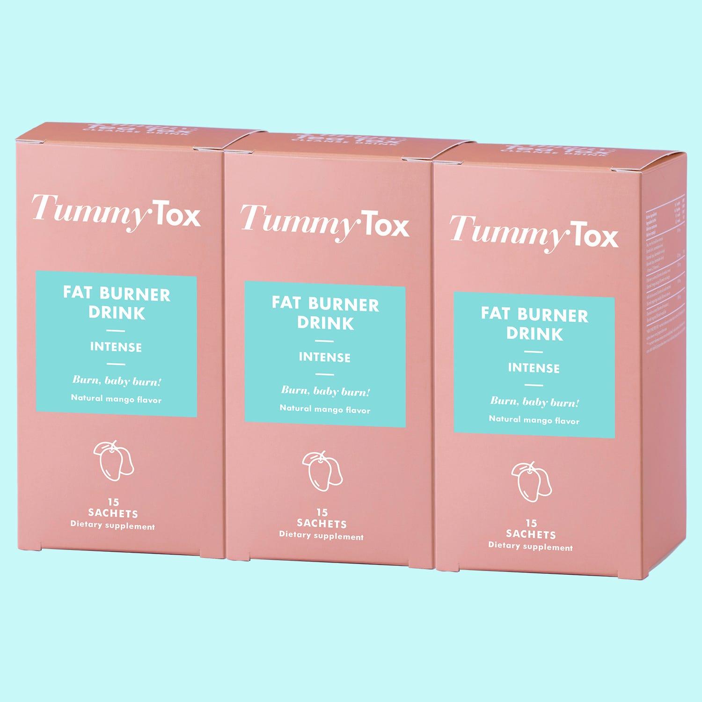 Fat Burner Drink 1+2 GRATIS   Quemagrasas natural con guaraná   Programa para 45 días   Sabor a mango   3x 15 sobres   TummyTox.