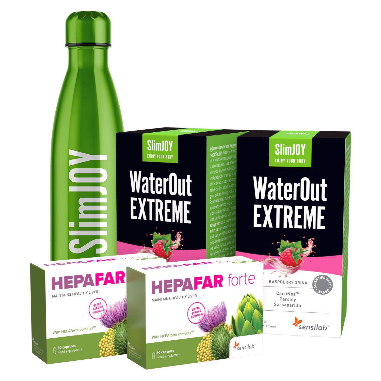 Paket: Flacher Bauch: 2 Schritte gegen Bauchfett   Mit Thermo-Flasche   Abnehmduo zur Entgiftung und Gewichtsabnahme   1-Monatsprogramm   Sensilab.